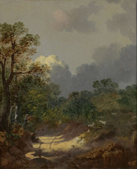 Thomas Gainsborough (1727-1788), Wooded Landscape with a Shepherd Resting by a Sunlit Track and Scattered Sheep, ca. 1745-1746, Collection Rijksmuseum Twenthe, Enschede, inv. no. 4475. Acquired with the assistance of the Rembrandt Association (photograph R. Klein Gotink)