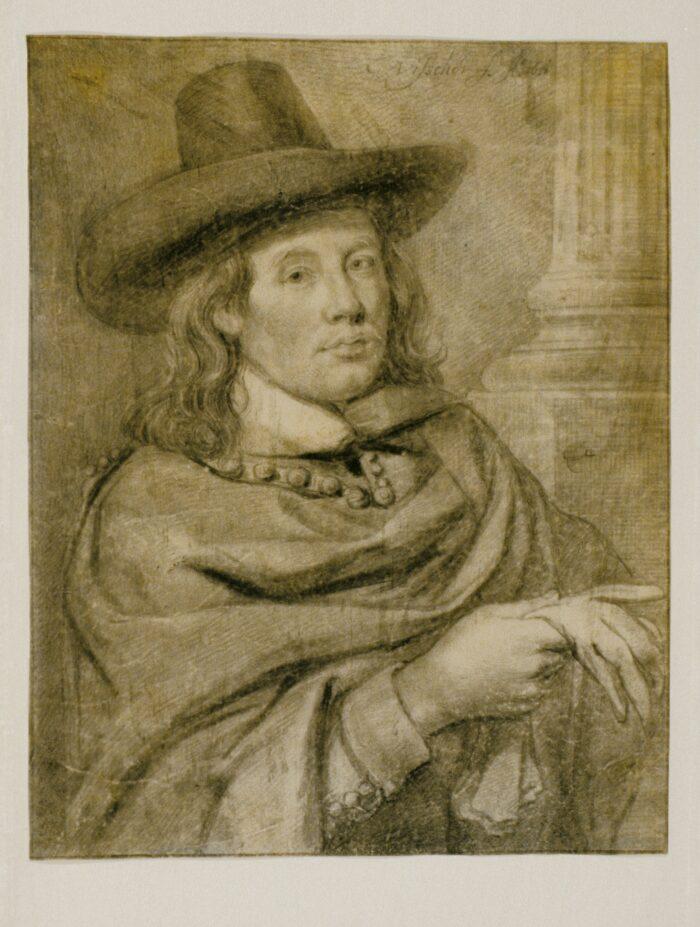Cornelis Visscher (1628-1658), <em>Self-Portrait with Hat and Gloves</em>, signed C. Visscher f. and dated Ao. 1651 black chalk and brush and black ink on vellum, 25.5 x 20 cm Liberna Collection, inv. no. 26