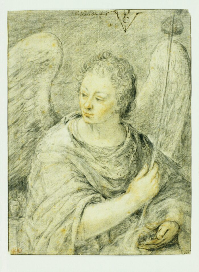 Crispijn de Passe the Elder (1564-1637), <em>Angel with a Sponge and Dice</em>, signed C.Vande pas and monogrammed CVP, indented for transfer black and red chalk, pen and brown ink, with grey wash, 26.5 x 19.7 cm Liberna Collection, inv. no. 20