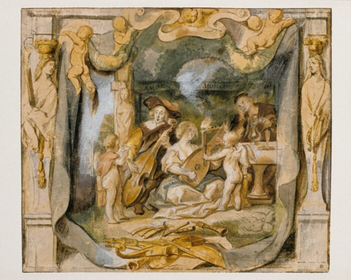 "Jacob Jordaens (1593-1678), <em>""Amor (docet) Musicam"": Love Teaches Music</em>, brown brush, watercolour and gouache, over black chalk, 26 x 30.6 cm Liberna Collection, inv. no. 31"