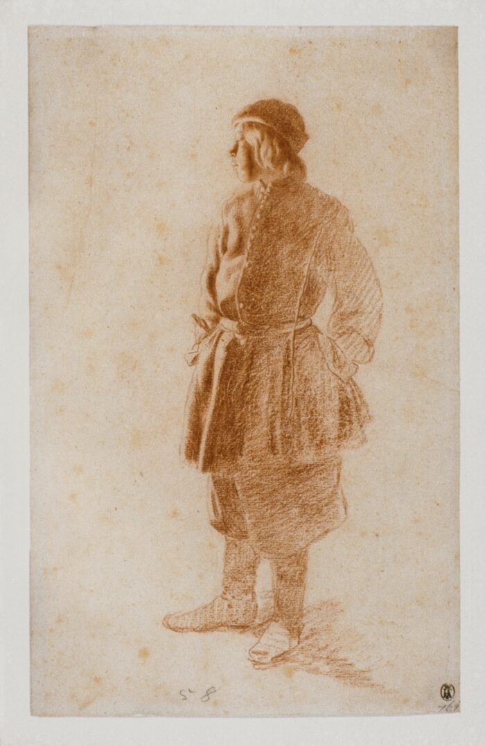 Moses ter Borch (1645-1667), <em>Young Man Standing with his Hands in his Pockets</em>, red chalk with traces of black chalk, 29 x 18.1 cm Liberna Collection, inv. no. 125