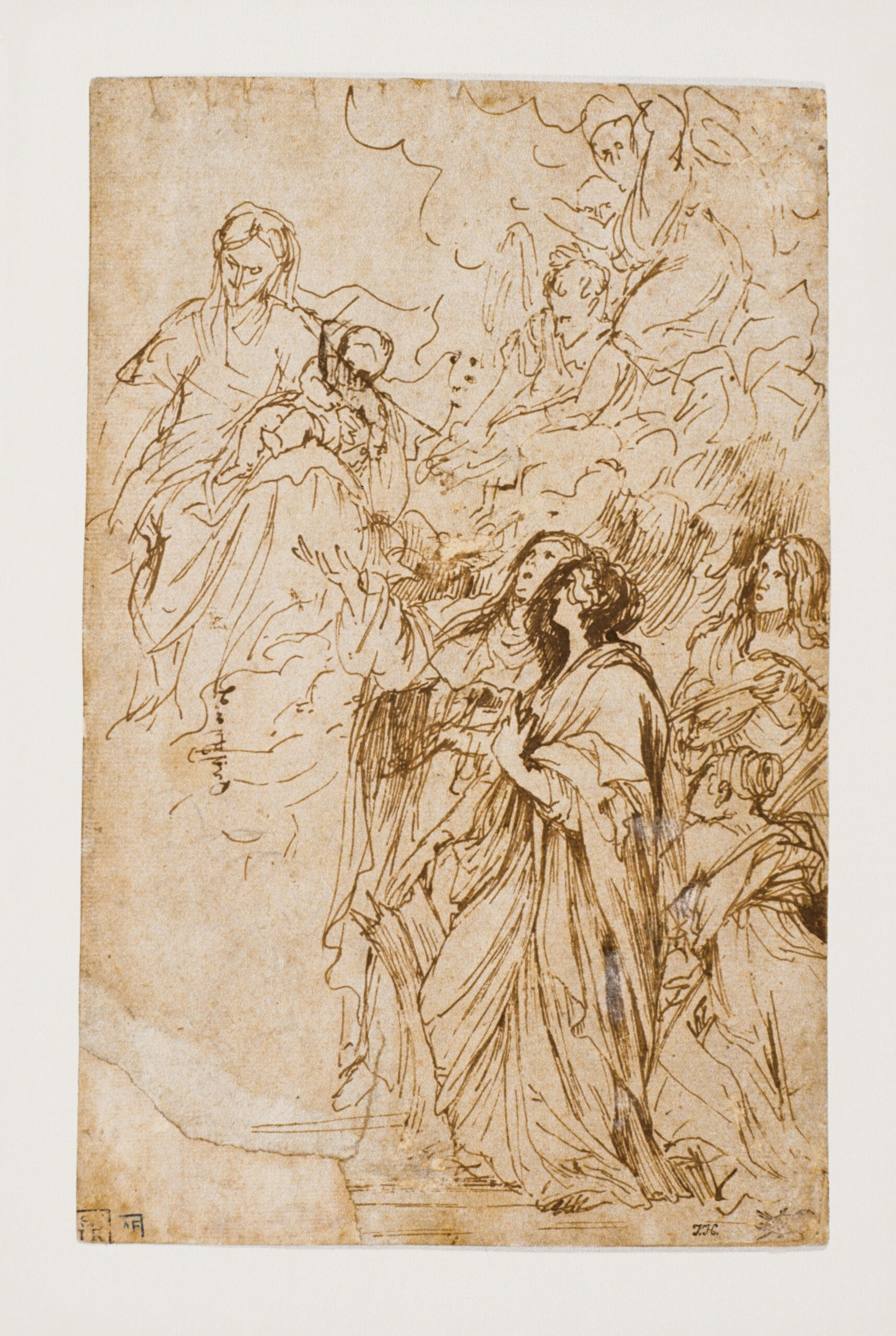 Anthony van Dyck (1599-1641), Madonna and Child with Female Saints, pen and brown ink, traces of black chalk, with traces of white body-colour, 26.7 x 17.1 cm Liberna Collection, inv. no. 74