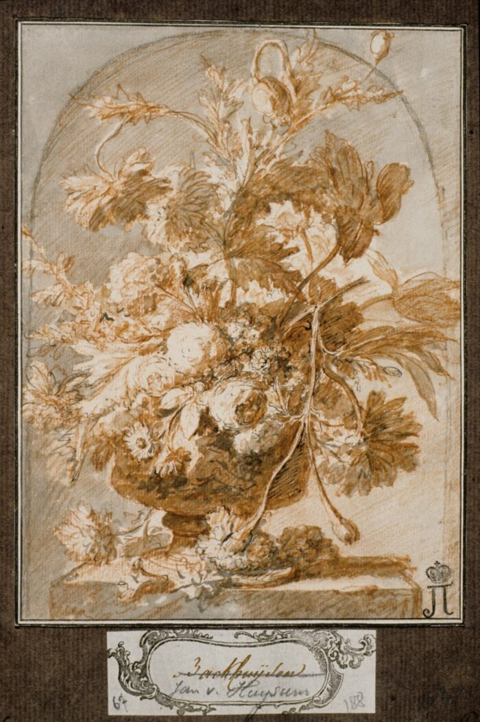 Jan van Huijsum (1682-1749), Vase of Flowers in a Niche, red and black chalk, pen and black ink, brush with grey and reddish-brown wash, 20 x 14.8 cm Liberna Collection, inv. no. 132