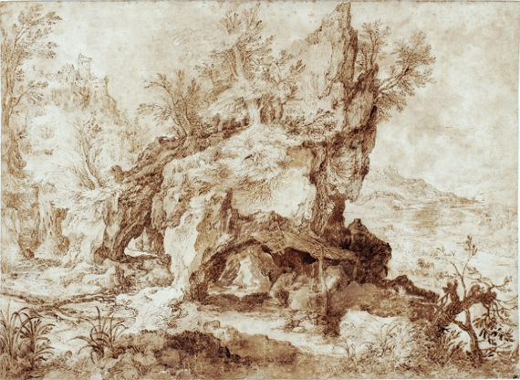 Jan Brueghel the Elder (1568-1625), Rocky Landscape with Saint Jerome in his Cave, pen and brown ink, brown wash, 20 x 27.5 cm Lille, Palais des Beaux-Arts, inv. no. W. 4544