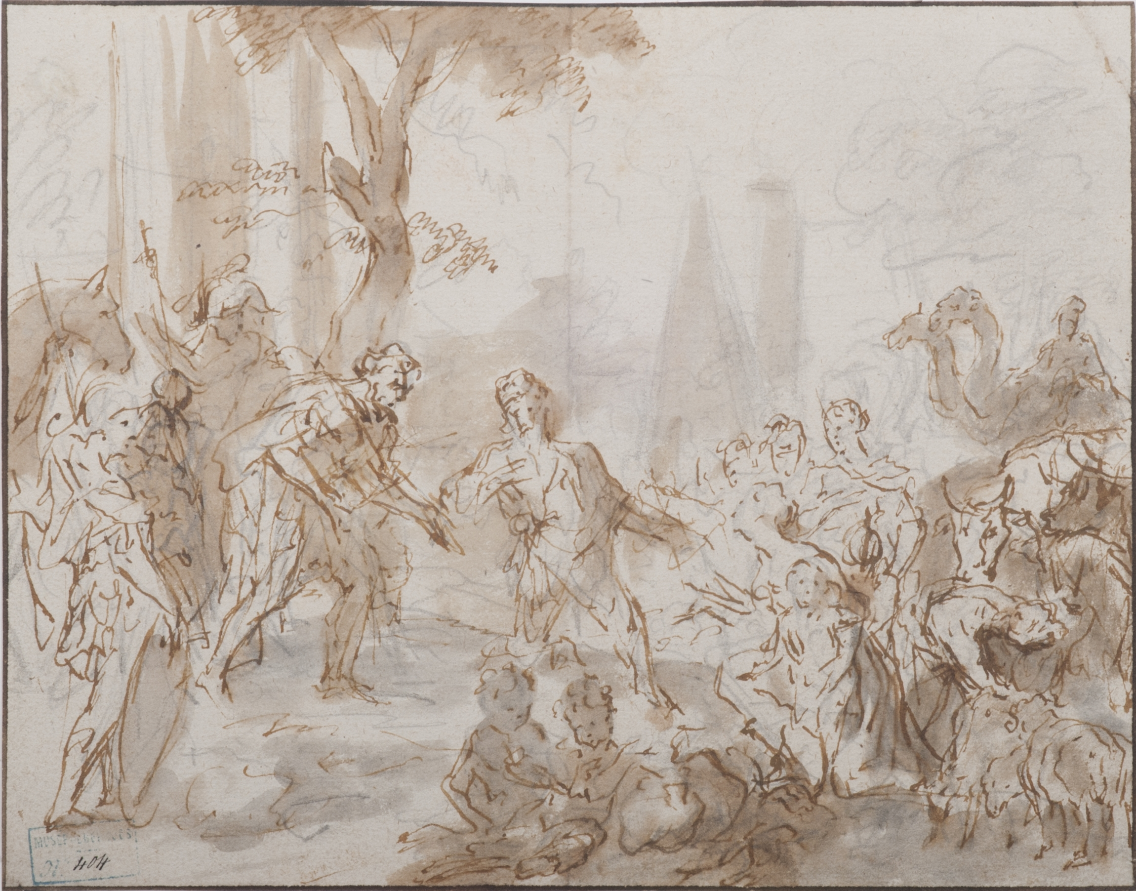 Caspar-Jacob van Opstal the Younger (1654-1717), The Meeting of Jacob and Esaü, pen and brown ink, grey wash, over graphite, 15 x 19 cm Bergues, Musée du Mont-de-Piété, inv. no. 2011.0.209.404 © Musée du Mont-de-Piété - Bergues / Photo Gilles Decavel
