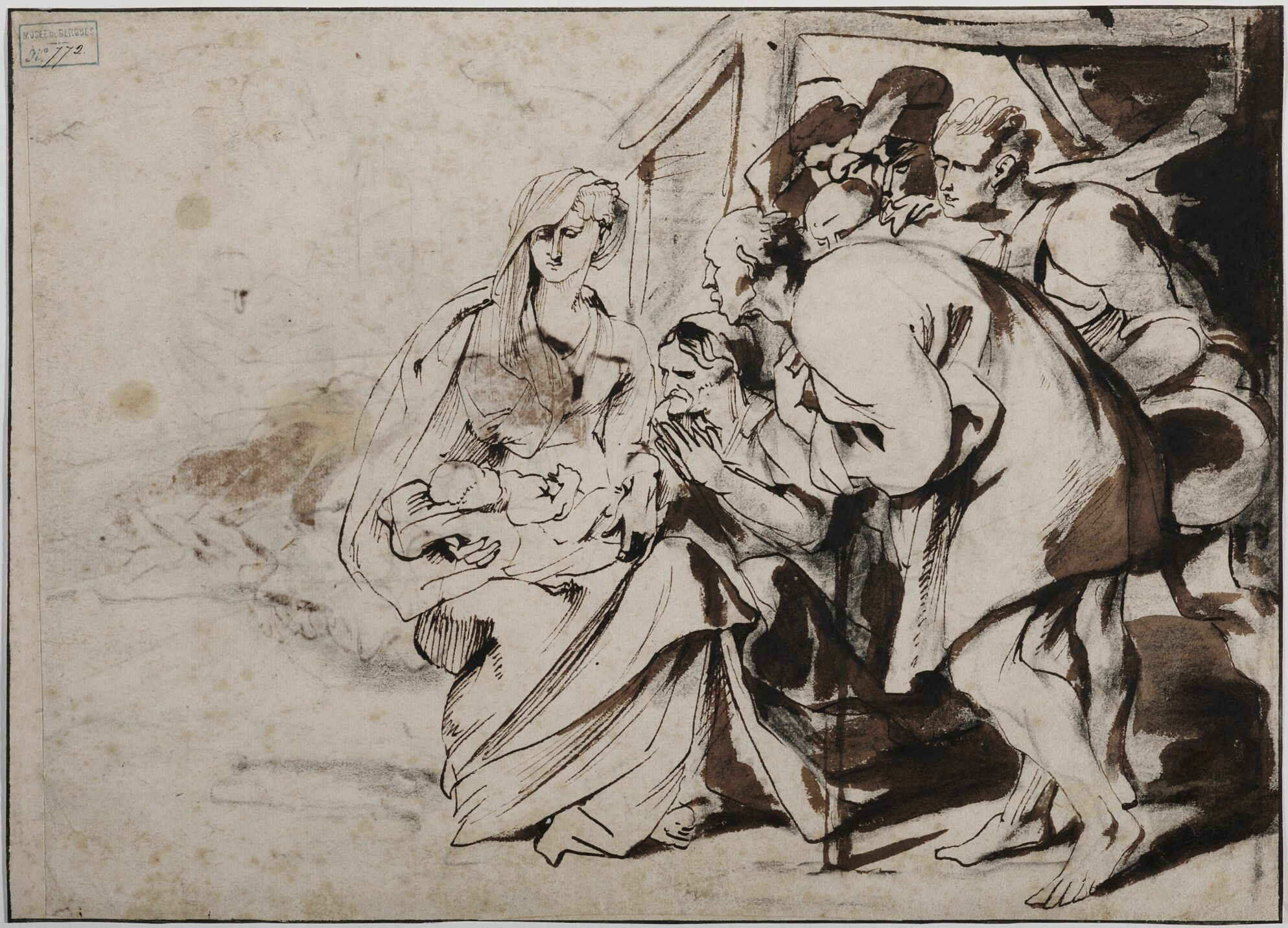 Anthony van Dyck (1599-1641), Adoration of the Shepherds, pen and brown ink, brown wash over black chalk, 20 x 28.5 cm Bergues, Musée du Mont-de-Piété, inv. no. 2011.0.209.772 © Musée du Mont-de-Piété - Bergues / Photo Studio Mallevaey