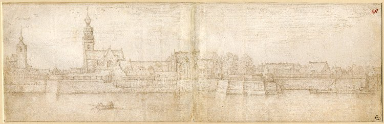 Fig 8: Hans Bol (1534-1593), View of Antwerp from the River Scheldt, with the Sint-Andrieskerk (St. Andrew's Church) and the Sint-Michielsabdij (St. Michael's Abbey) , silverpoint on two conjoined sheets of white-prepared paper, c.1583-84, British Museum, London, inv. no. 1895,0915.983. © The Trustees of the British Museum