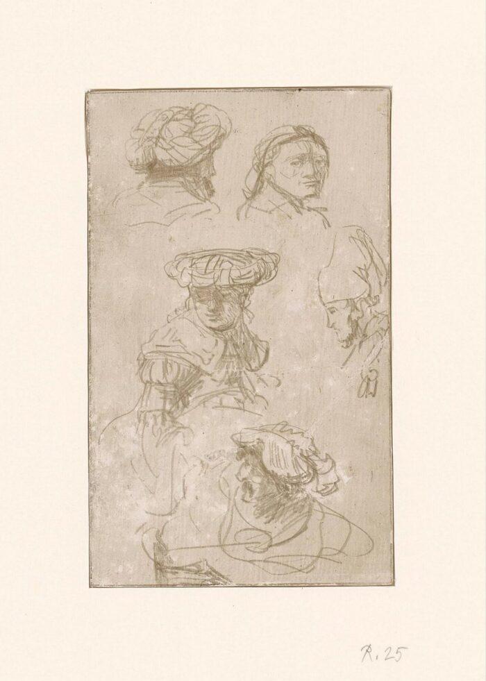 Fig 9: Rembrandt (1606-1669), Five Studies of Heads (recto), silverpoint on white-prepared vellum, c.1633, Museum Boijmans Van Beuningen, Rotterdam, inv. no. R 25.