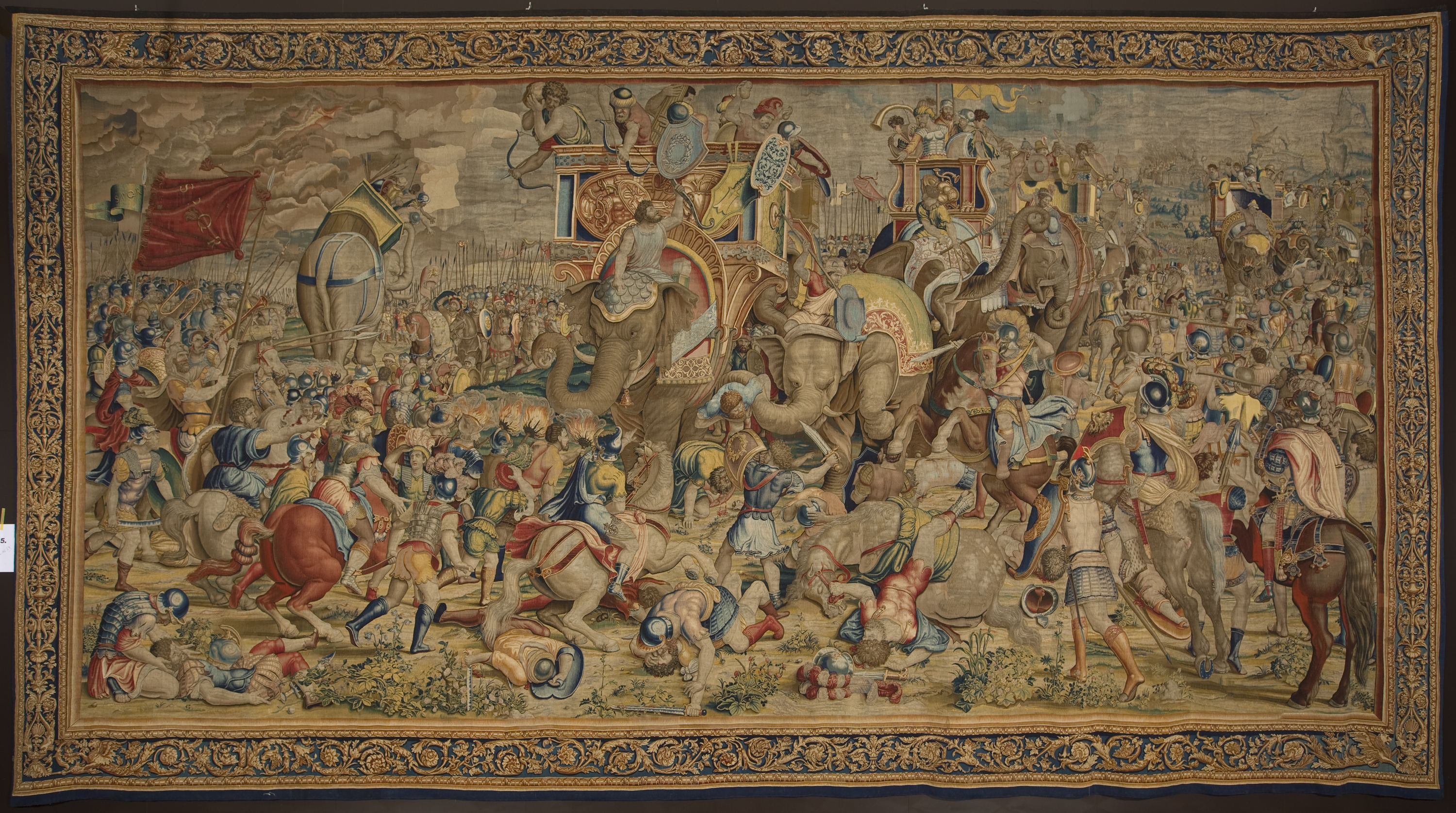 <em>The Battle of Zama</em>, fifth tapestry of The Story of Scipio, Collection of Philip II, inherited from Mary of Hungary, Cartoons by Giulio Romano, Produced in Brussels by Baltasar van Vlierden, ca. 1544. Madrid Royal Palace. Inv. 10005931, cat. TA-26/5.