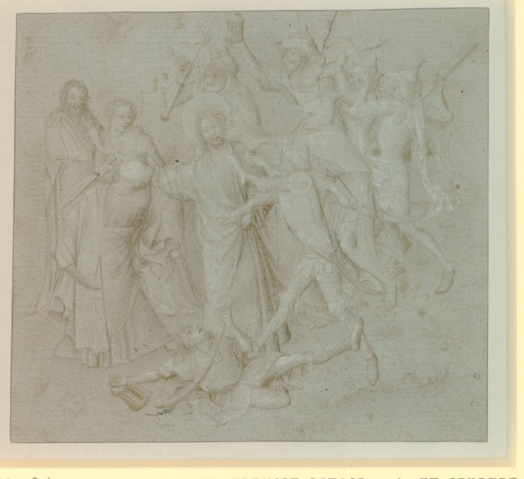 Fig. 1: Anonymous, The Arrest of Christ , silverpoint on green-prepared paper, c.1410-20, British Museum, London, inv. no. 1883,0714.77. © The Trustees of the British Museum