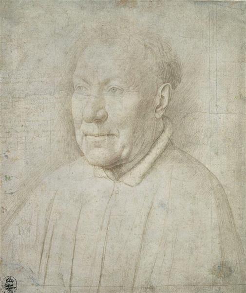 Fig. 2: Jan van Eyck (1390-1441), Portrait of Cardinal Niccolò Albergati, silverpoint on white-prepared paper, c.1432, Kupferstichkabinett, Staatliche Kunstsammlungen, Dresden, inv. no. C775.