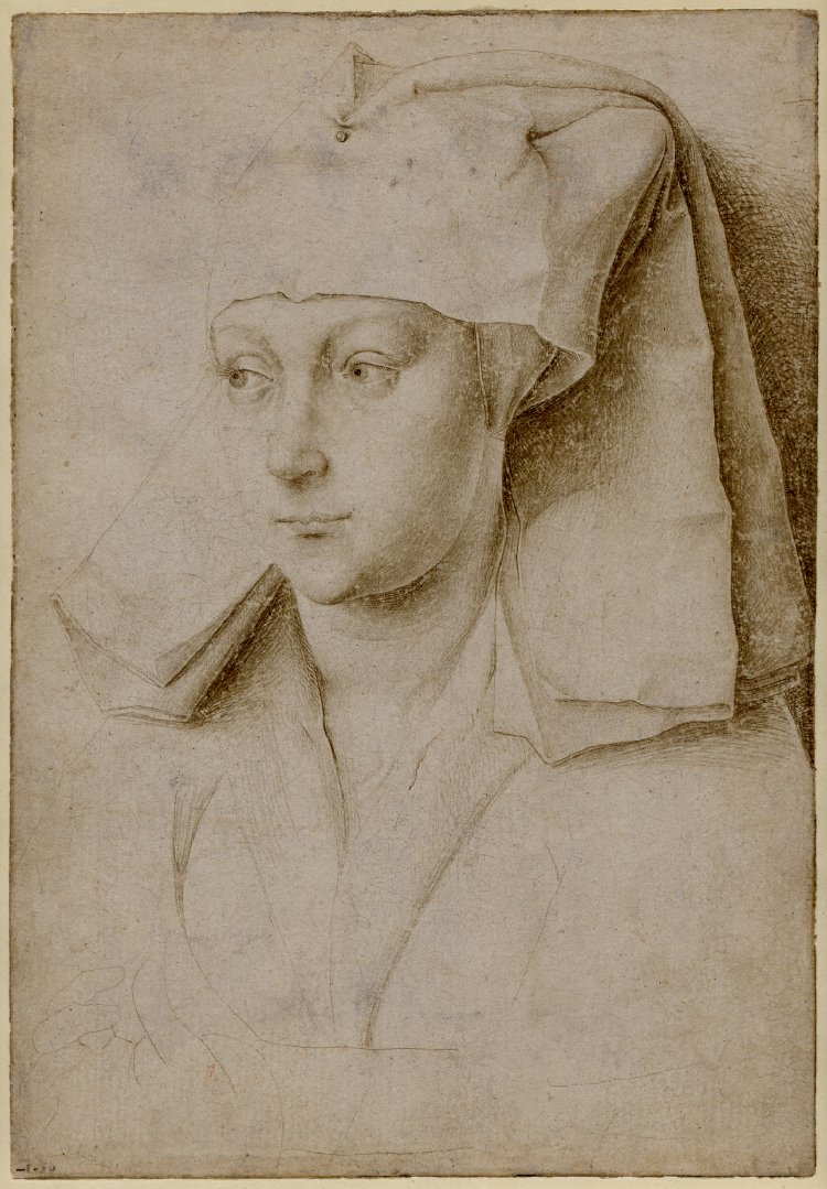 Fig. 3: Rogier van der Weyden (1399-1464) (workshop), Head of an unknown Woman wearing a Veil , c.1435-40, British Museum, London, inv. no. 1874,0808.2266. © The Trustees of the British Museum