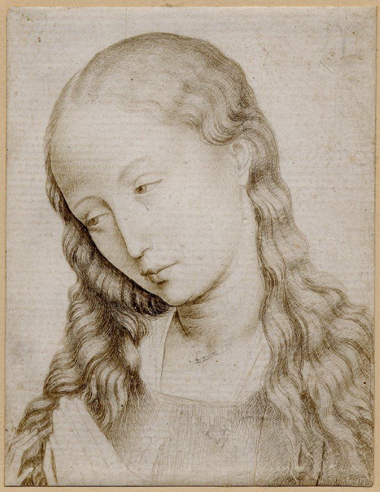 Fig. 4: Rogier van der Weyden (1399-1464) (workshop), Head of the Virgin , c.1460-70, British Museum, London, inv. no. 1884,0726.27. © The Trustees of the British Museum