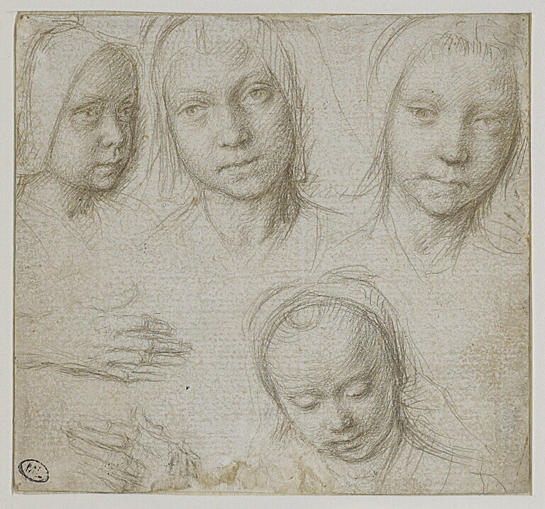 Fig 5: Gerard David (1450-1523), Four Heads of Girls and Two Hands , silverpoint on white-prepared paper, c.1500-05, Musée du Louvre, Paris, inv. no. RF3812. © Musée du Louvre