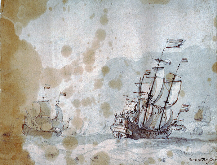 Willem van de Velde the Younger (1633-1707), <em>A Dutch Flagship with a Fresh Beam Wind</em>, ca. 1665, graphite, gray wash and brown ink on paper, 16 x 20.9 cm<br>National Maritime Museum, Greenwich, London, inv. no. PAE5228<br>The stain was probably caused by the linseed oil commonly used by artists to mix and thin paints in the studio.
