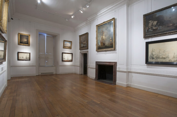 The Willem van de Velde permanent display at the National Maritime Museum, Greenwich, London. This room might have served as the Van de Veldes' studio in the 1670s.