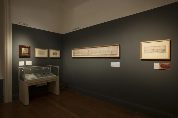 In 2013, to celebrate the completion of a two-year conservation project funded by the Esmée Fairbairn Foundation, the Van de Velde display in the Queen's House focused on a selection of drawings that had undergone examination and treatment in the NMM's Conservation Department.