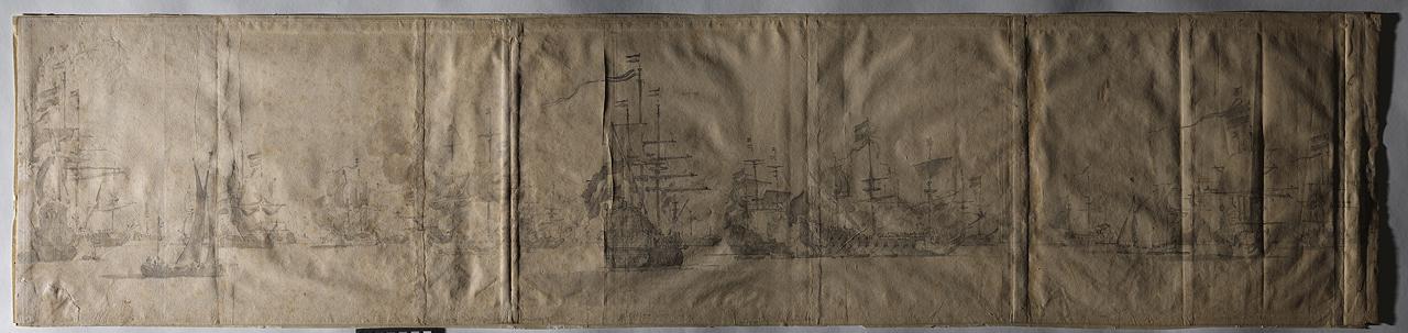 Willem Van de Velde the Elder (1611-1693), <em>The Dutch Fleet off the Coast of Holland November 1664 </em>, graphite on paper, 32.0 x 140.9 cm<br>National Maritime Museum, Greenwich, London, inv. no. PAJ2526<br>The Van de Veldes pasted various papers together to create large drawings in landscape format.