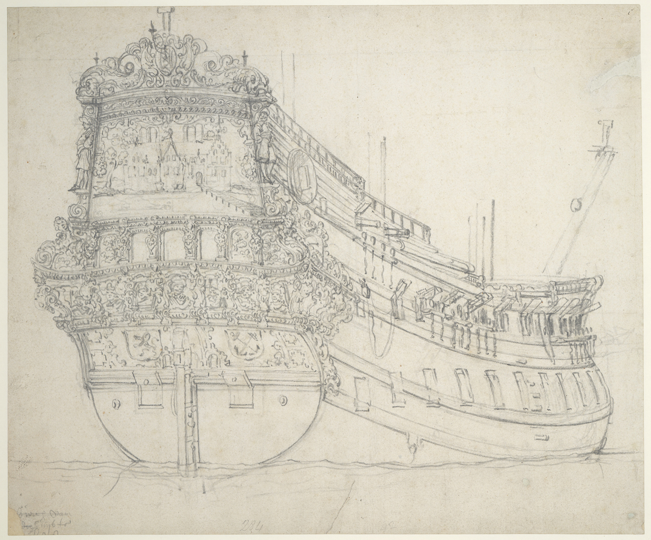 Portrait of the 'Hilversum' (inv. no. PAH3826) is possibly an offset from Portrait of the 'Jaarsveld' both ca. 1655, graphite on paper National Maritime Museum, Greenwich, London The offset was a form of transfer from drawing to drawing commonly used in the Van de Veldes' studio.