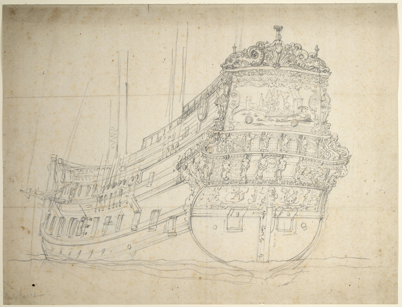 Portrait of the 'Hilversum' is possibly an offset from Portrait of the 'Jaarsveld' (inv. no. PAH3827) both ca. 1655, graphite on paper National Maritime Museum, Greenwich, London The offset was a form of transfer from drawing to drawing commonly used in the Van de Veldes' studio.