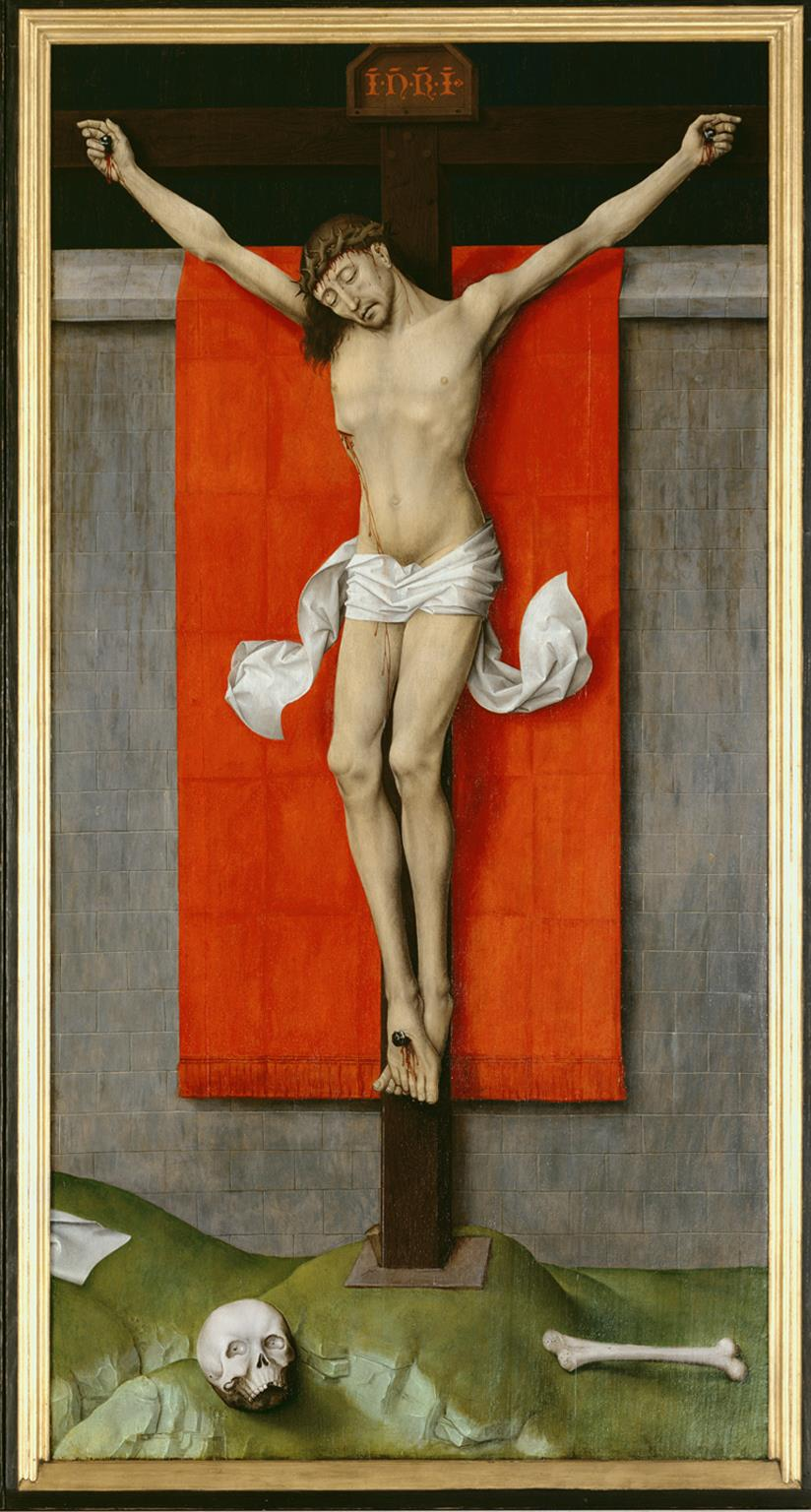 Fig. 2 and 3: Rogier van der Weyden (1399-1464), The Crucifixion, with the Virgin and Saint John the Evangelist Mourning , c. 1560, John G. Johnson Collection, 1917, Philadelphia Museum of Art