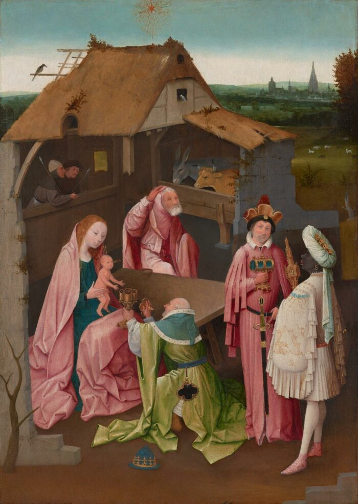Fig. 1: Copy after Hieronymus Bosch, <em>The Adoration of the Magi (After the center panel of a triptych in the Museo del Prado, Madrid)</em>, early 16th century, John G. Johnson Collection, 1917, Philadelphia Museum of Art