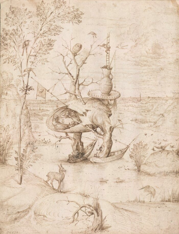 Jheronimus Bosch (1440/1460-1516), Tree Man, pen and ink on paper, ca. 1500, Albertina, Vienna