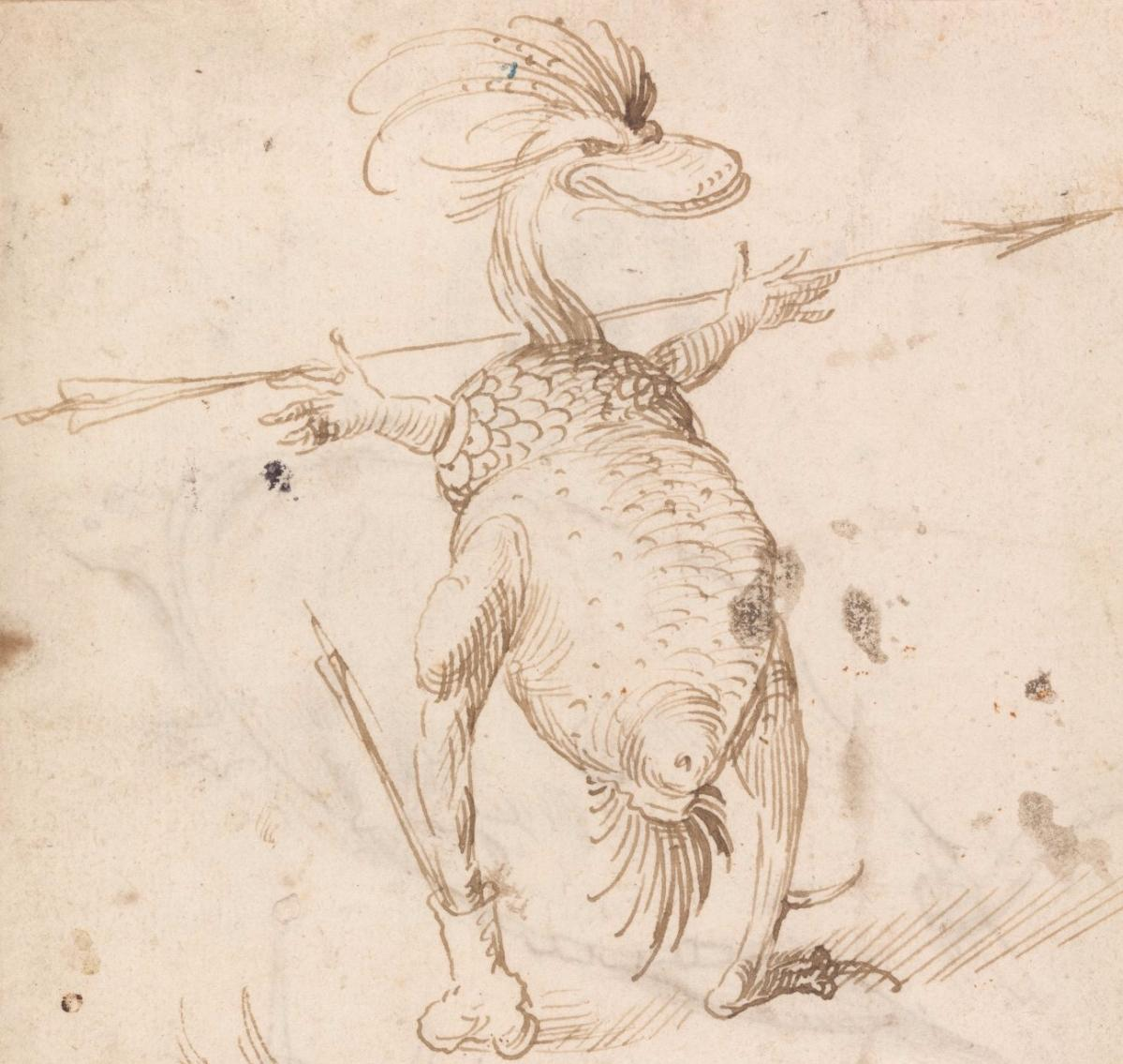 Detail of Two Monsters, Pen and brown ink on paper, Kupferstichkabinett, Staatliche Museen zu Berlin