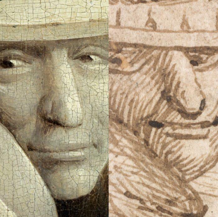 Comparison of a tree man in The Garden of Earthly Delights (Museo Nacional del Prado, Madrid) and Tree Man (Albertina, Vienna)