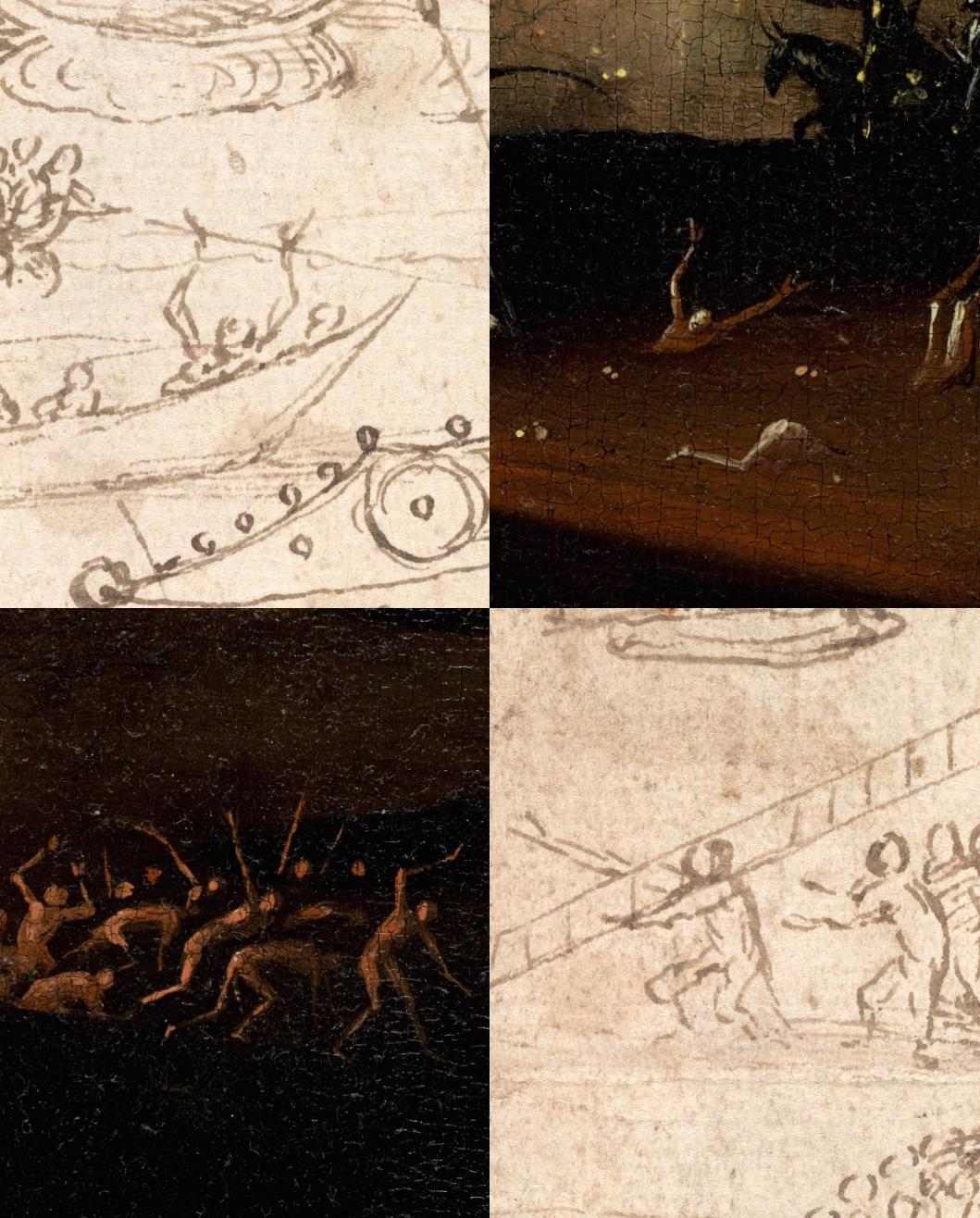 Comparison of small figures in the Infernal Landscape (private collection) and The Garden of Earthly Delights (Museo Nacional del Prado, Madrid)