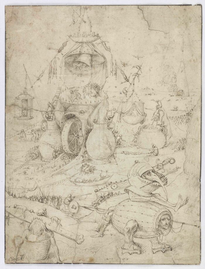 Jheronimus Bosch (1440/1460-1516), Infernal Landscape , pen and brown ink on paper, private collection