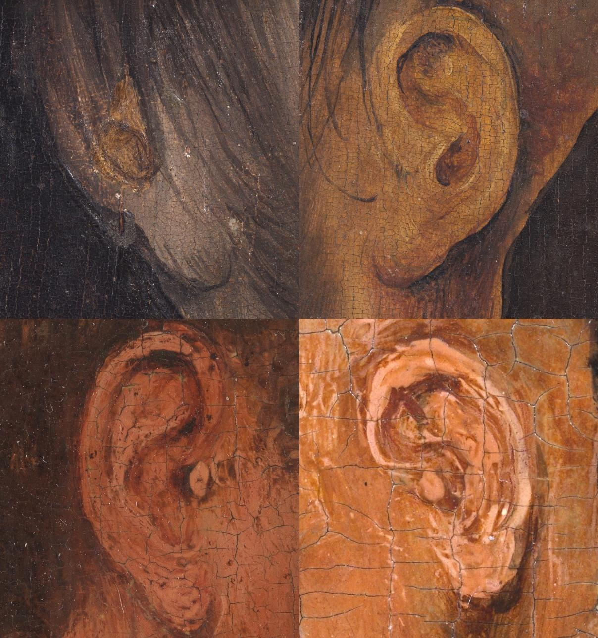 Comparison of ears in Christ carrying the Cross (Museum of Fine Arts, Ghent) (top left and right), Saint Christopher (Museum Boijmans Van Beuningen, Rotterdam) (bottom left) and Saint Jerome in Prayer (Museum of Fine Arts, Ghent) (bottom right)