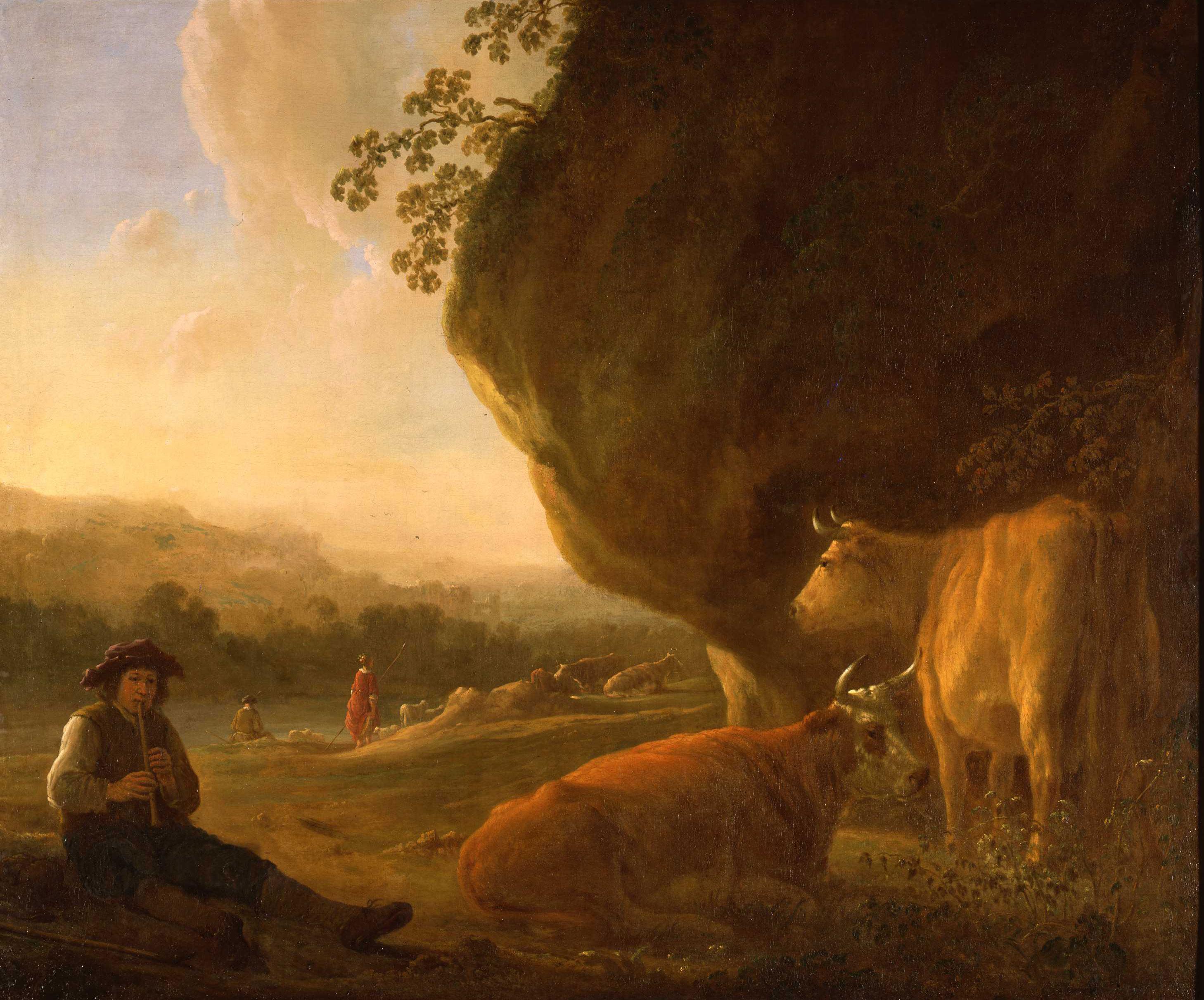 Aelbert Jacobsz Cuyp, (1620-1691), <em>Landscape with a Shepherd Playing Flute</em>, ca. 1645 Dordrechts Museum, Dordrecht