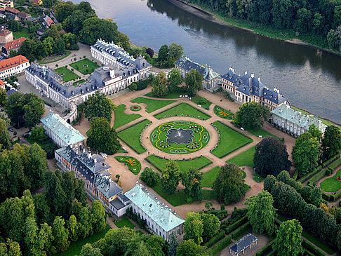 Aerial view of Schloss and Park Pillnitz