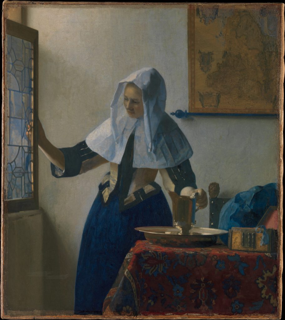 Johannes Vermeer (Dutch, Delft 1632–1675 Delft) Young Woman with a Water Pitcher, ca. 1662. The Metropolitan Museum of Art, New York, Marquand Collection, Gift of Henry G. Marquand, 1889