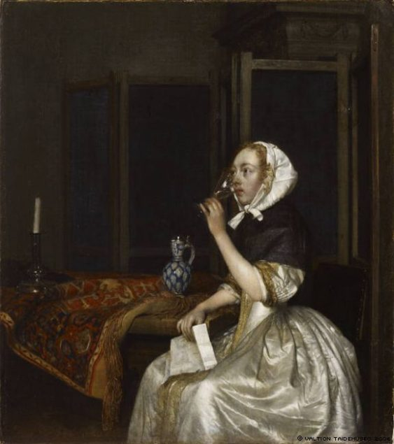 Gerard Ter Borch (1617-1681), Seated Lady Holding a Wineglass, ca. 1665 Sinebrychoff Art Museum, Helsinki