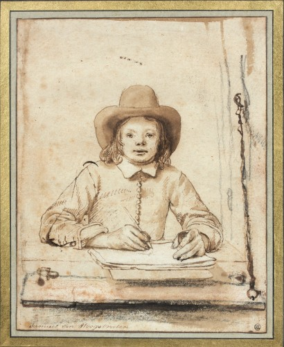 Samuel van Hoogstraten (1627-1678), A Self-Portrait of the Young Artist Drawing at an Open Window Fondation Custodia, coll. Frits Lugt, Paris