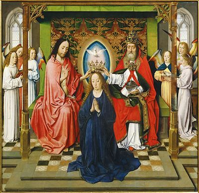 Dieric Bouts (1410-1475), The Coronation of the Virgin, 1450 Academy of Fine Arts, Vienna