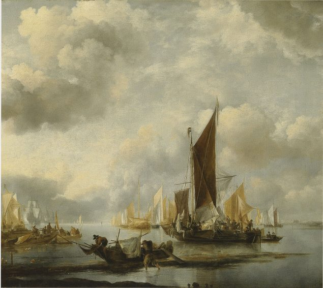 Jan van de Cappelle (1624/26-1679), A Calm sea with Ships near a Shore Collection W. Baron van Dedem
