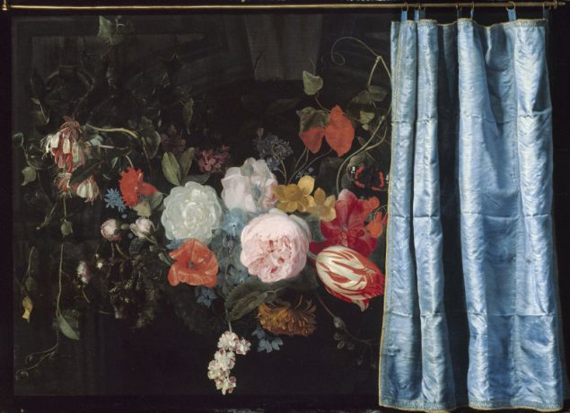 Adriaen van der Spelt (1630-1673) and Frans van Mieris (1635-1681), Trompe-l'Oeil Still Life with a Flower Garland and a Curtain, 1658 Art Institute Chicago