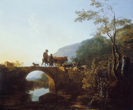 Adam Pijnacker (1622-1673), Bridge in an Italian Landscape, 1653-54 Dulwich Picture Gallery, London
