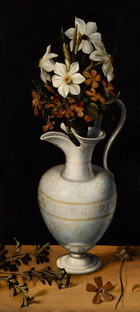 Ludger tom Ring the Younger (1522-1584), Narcissi, Periwinkle and Violets in a Ewer, ca. 1562 Mauritshuis, The Hague (on permanent loan from the Friends of the Mauritshuis Foundation)