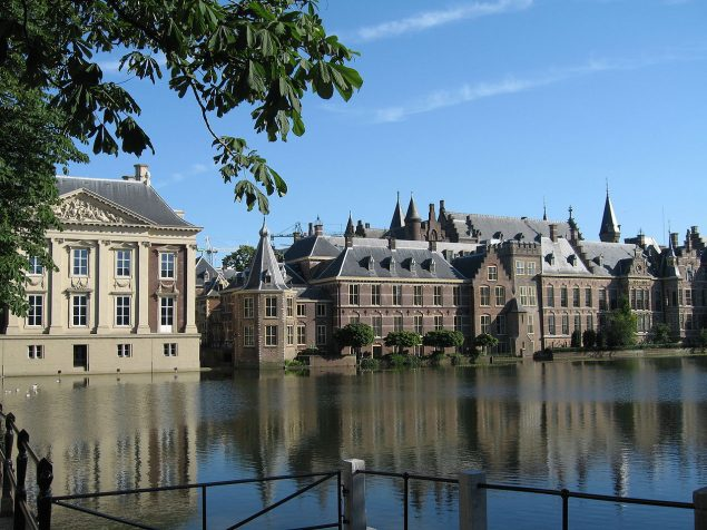 A view of the Hofvijver with the Binnenhof and the Mauritshuis on the left hand side