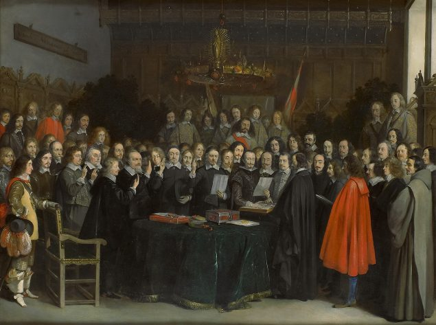 Gerard ter Borch (1617-1681), The Swearing of the Oath of Ratification of the Treaty of Münster in 1648, 1648 Rijksmuseum Amsterdam