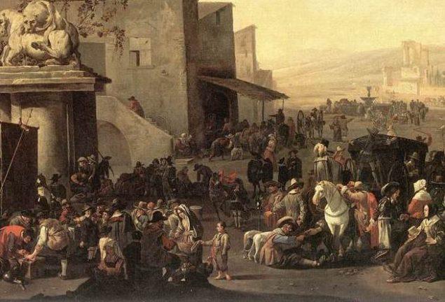 Johannes Lingelbach (1622-1674), Roman Market Scene (detail), 1653 Royal Museums of Fine Arts of Belgium, Brussels