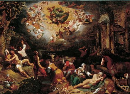 Adriaan van Nieulandt (1587-1658), The Annunciation to the Shepherds, 1609 Kasteel Het Nijenhuis Heino