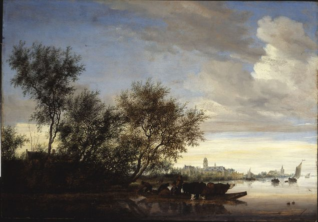Salomon van Ruysdael (1600/03-1670), Ferryboat with Cattle on the Vecht River near Nyenrode, 1649 © Collection W. Baron van Dedem