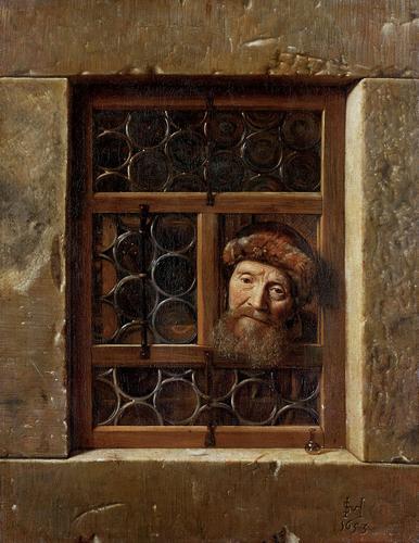 Samuel van Hoogstraten (1627-1678), Old Man in Window, 1653 Kunsthistorisches Museum, Vienna