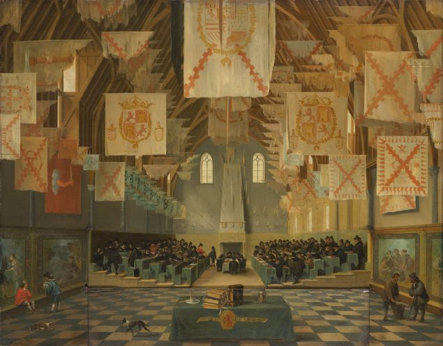 Attributed to Bartholomeus van Bassen (ca. 1590-1652), Interior of the Great Hall on the Binnenhof in The Hague, during the Great Assembly of the States-General in 1651, 1651 Mauritshuis, The Hague