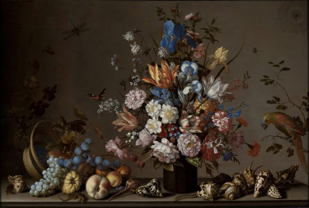 Balthasar van der Ast (1593-1657), Still life with Tilted Basket of Fruit, Vase of Flowers, and Shells, ca. 1640-45 Taft Museum of Art, Cincinnati, Ohio. Gift of Luther and Josephine P. Tucker